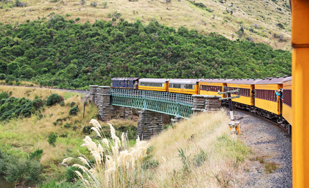 Taieri gorge railway, New Zealand Archivio Fotografico