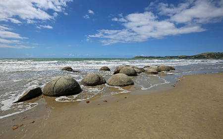 Landscape with Moeraki Boulders, New Zealand