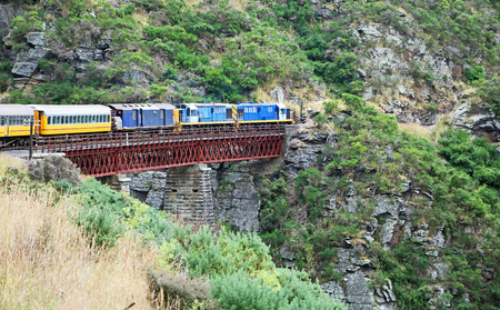 Train on viaduct, New Zealand