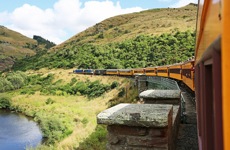 Taieri river train, New Zealand Stock Photo