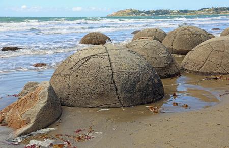 Cracked Moeraki Boulders, New Zealand