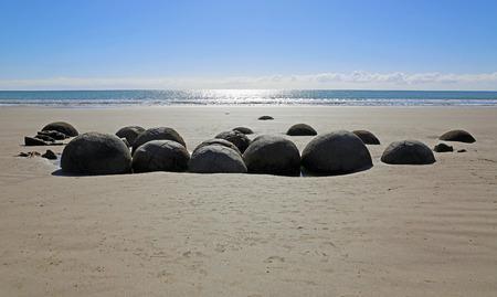 Moeraki Boulders on the beach, New Zealand