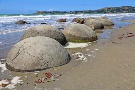 Moeraki Boulders on Koekohe Beach, New Zealand Stock Photo