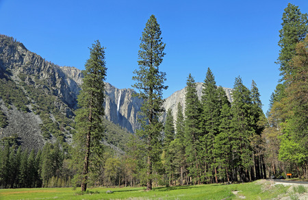 View at Ribbon Falls from the meadow, Yosemite NP, California