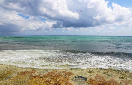 Parasailing over Caribbean Sea, Mexico