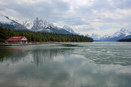 Landscape on Maligne Lake with a boat house, Canada