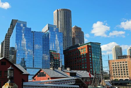 View at city of Boston from the port, Massachusetts