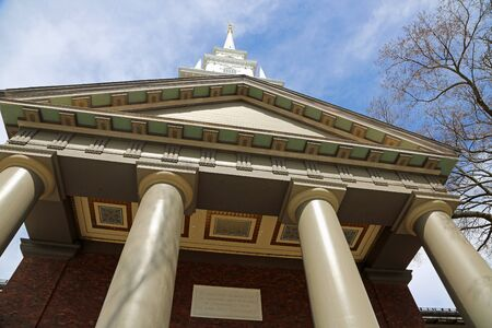 Standing under the tower - Memorial Church, Harvard
