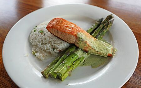 Salmon with rice and asparagus Stockfoto