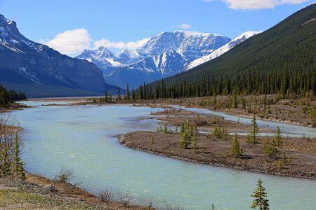 Sunwapta River and the mountains, Jasper NP, Canada