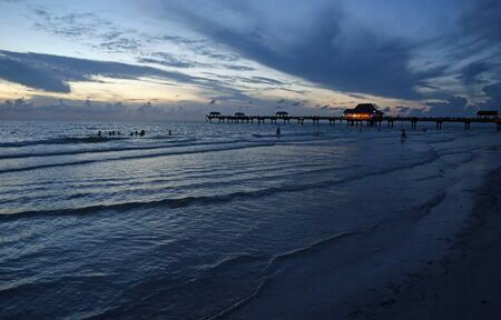 Clearwater Beach after sunset, Florida Imagens