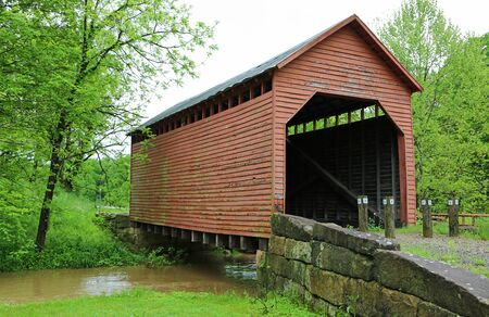 Dents Run überdachte Brücke, West Virginia Standard-Bild