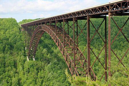 Widok z boku na most New River Gorge, Wirginia Zachodnia
