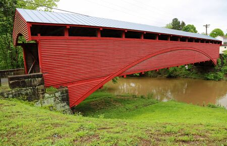 Side view at Barrackville covered bridge, WV