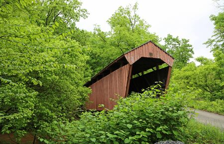 Fletcher covered bridge and the road, West Virginia
