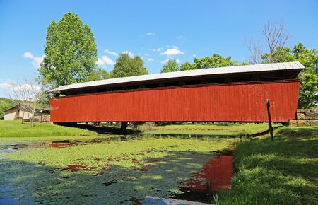 Side view at Staats Mill Covered Bridge, 1887, WV Stock Photo