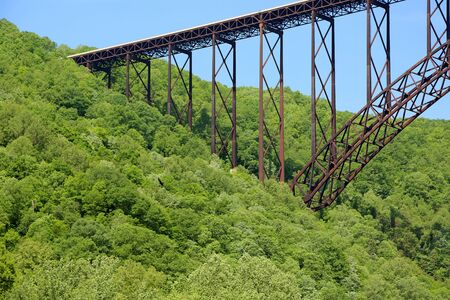 West side of New River Gorge Bridge, WV Stock Photo