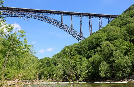 Arch bridge over New River, West Virginia Stock Photo