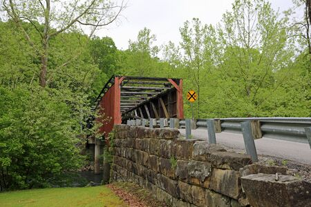Burned Carrollton covered bridge, West Virginia