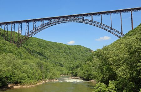 Landscape with New River and the bridge, West Virginia Reklamní fotografie