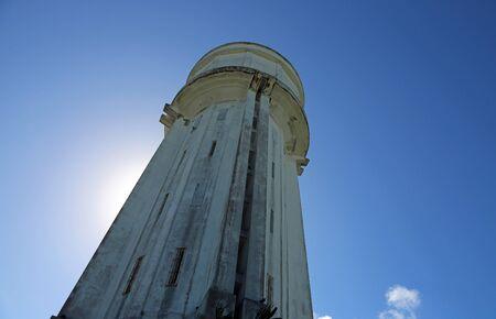 The water tower on blue sky, Nassau, Bahamas