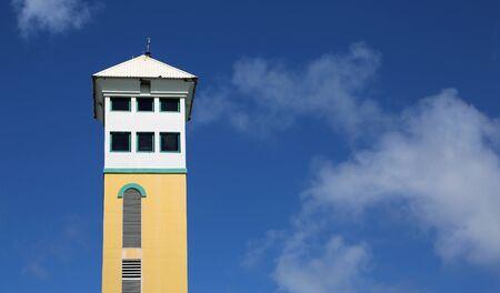 Colorful tower on blue sky, Nassau, Bahamas Stok Fotoğraf