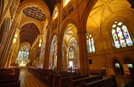 The main and east nave of St Mary's Cathedral, Sydney Stock Photo