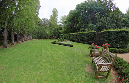 Green landscape with the bench - The Ashcombe Maze and Lavender Gardens, Victoria, Australia