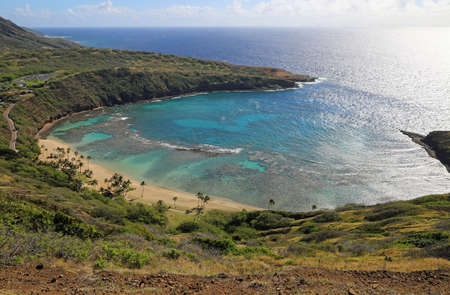 The beach and the light - Hanauma Bay, Oahu, Hawaii 스톡 콘텐츠