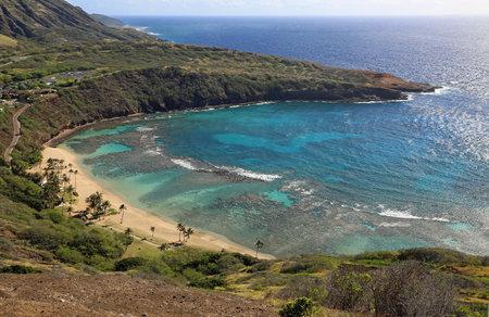 Looking down on Hanauma Beach, Oahu, Hawaii 스톡 콘텐츠