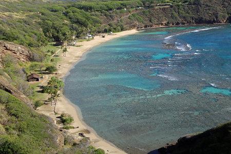 View at Hanauma Bay beach, Oahu, Hawaii 스톡 콘텐츠