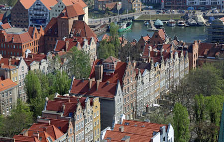 View at tenement row from St Mary's church tower - Gdansk, Poland Archivio Fotografico