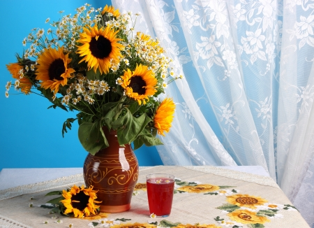 Still life with sunflowers photo