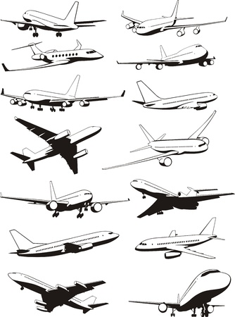 airman: set of airplane contours Illustration