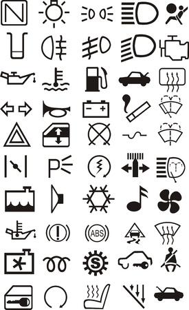 Coche salpicadero y conjunto de iconos de interior