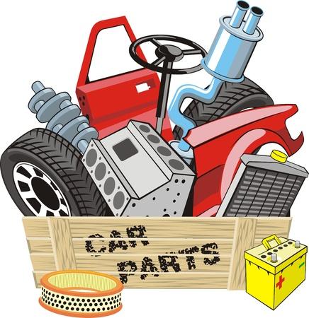 Doos met verschillende auto detail Stock Illustratie