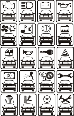 set of car service sign Vector