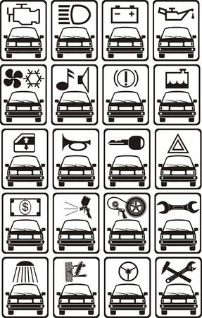 outboard: set of car service sign Illustration