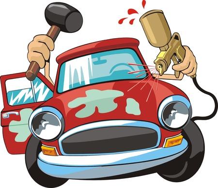 Stary samochód witn sprayu i hummer Ilustracje wektorowe