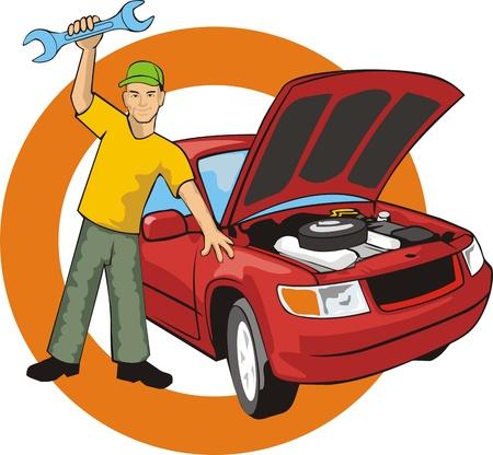 Auto master met sleutel vast een auto