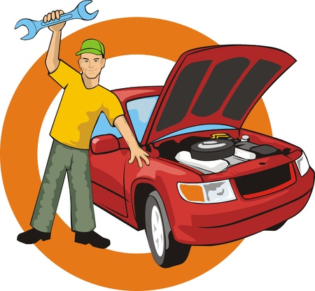 open car: Car master with wrench fixed a car