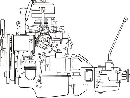 gear box: Car engine with gear box side