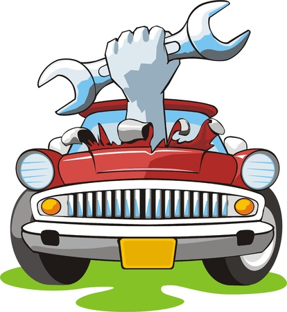 car fix: Car with crashed hood and wrench in hand Illustration