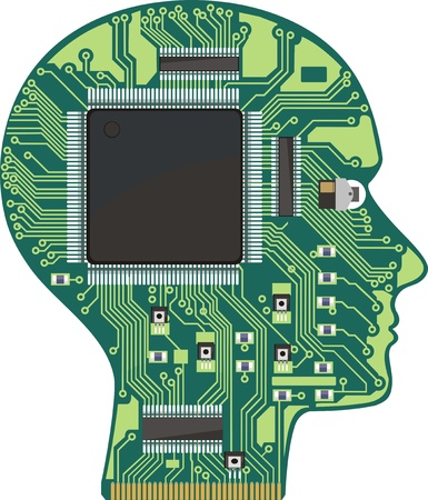 microprocessor: Printed contact sheme in the form of a head