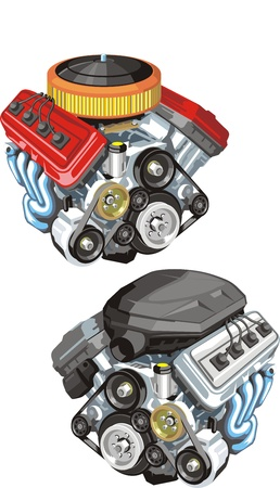 old and modern car engine Stock Illustratie