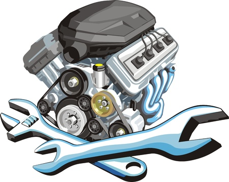 sign of a car engine fix Illustration