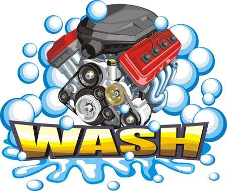 sign of the washer of the car engines  イラスト・ベクター素材
