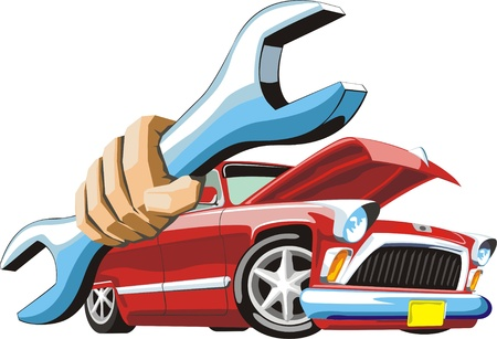 Car with open hood and wrench in hand