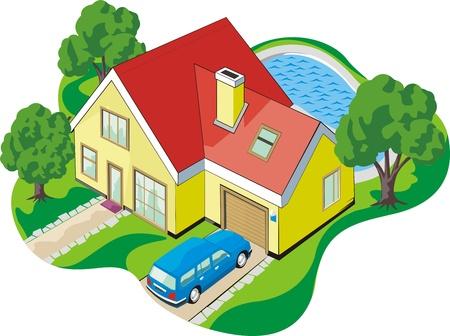woning met twee verdiepingen tellende huis met garage