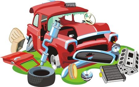 piezas coche: Un coche antiguo se estrelló y sus partes Vectores
